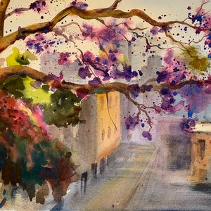 (CreativeWork) The misty alley with jacaranda  by Shelly Du. watercolour. Shop online at Bluethumb.