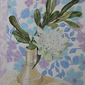 (CreativeWork) Retro Florals & White Waratah by Alicia Cornwell. oil-painting. Shop online at Bluethumb.