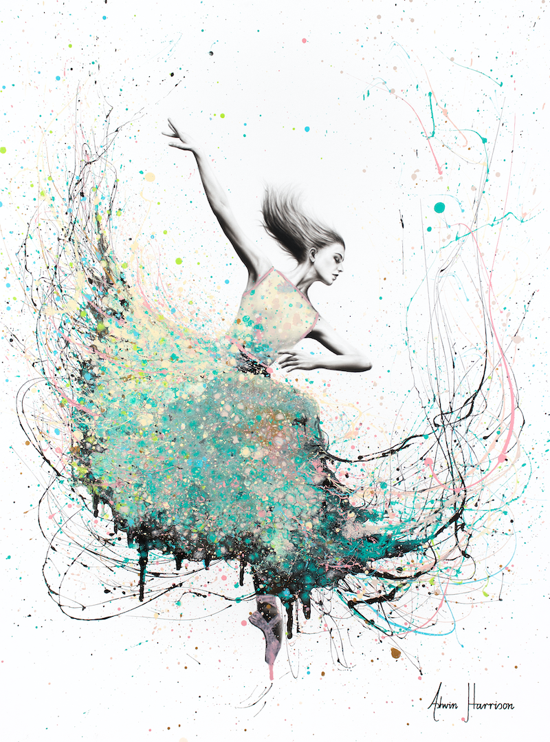 (CreativeWork) Opal Oasis Dance by Ashvin Harrison. arcylic-painting. Shop online at Bluethumb.