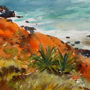(CreativeWork) The red coast by Shelly Du. watercolour. Shop online at Bluethumb.