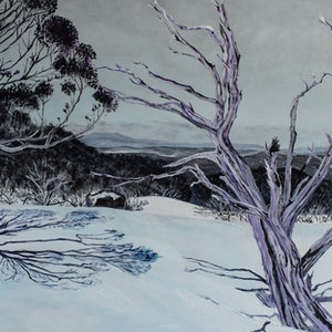 (CreativeWork) Snowdrift Mount Selwyn by Rodney Black. arcylic-painting. Shop online at Bluethumb.