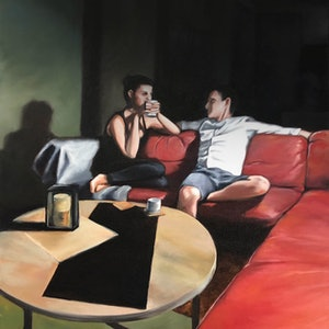 (CreativeWork) Late night conversation by maria radun. oil-painting. Shop online at Bluethumb.
