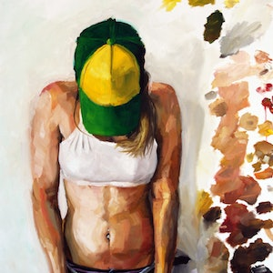(CreativeWork) Alix in a green hat by James Needham. oil-painting. Shop online at Bluethumb.