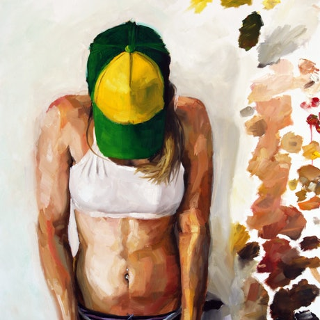 (CreativeWork) Alix in a green hat by James Needham. Oil Paint. Shop online at Bluethumb.