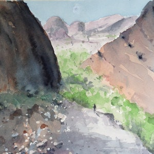 (CreativeWork) Valley of the Winds III by Bernd Rieve. watercolour. Shop online at Bluethumb.