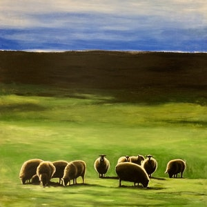 (CreativeWork) SHEEP IN A VERDANT FIELD  by LOUISE GROVE WIECHERS. arcylic-painting. Shop online at Bluethumb.