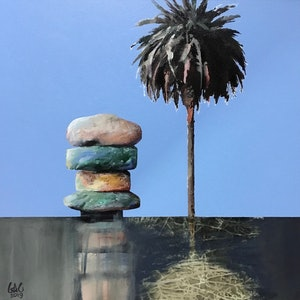 (CreativeWork) Lake palm and stones by Geoff Coleman. mixed-media. Shop online at Bluethumb.