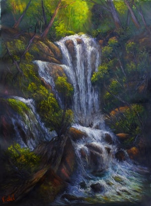(CreativeWork) Kanangra Boyd National Park Waterfall - Loose linen by Christopher Vidal. Oil Paint. Shop online at Bluethumb.