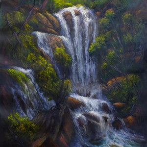 (CreativeWork) Kanangra Boyd National Park Waterfall - Loose linen by Christopher Vidal. oil-painting. Shop online at Bluethumb.