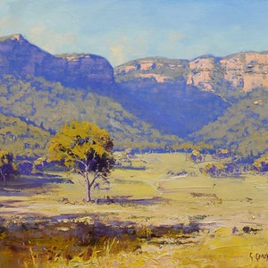 (CreativeWork) Summer Light Capertee Valley by Graham Gercken. oil-painting. Shop online at Bluethumb.