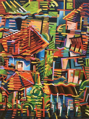(CreativeWork) Houses on the Hill by D.M. Ross. Oil. Shop online at Bluethumb.
