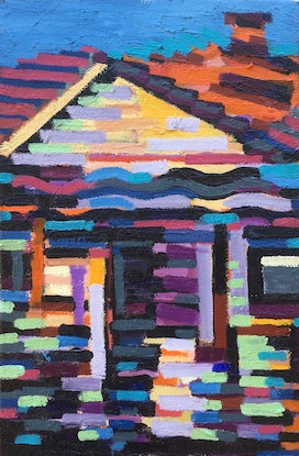 (CreativeWork) Housefront by D.M. Ross. Oil. Shop online at Bluethumb.