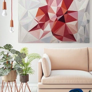 (CreativeWork) Living Coral - original abstract geometrical oil artwork, ready to hang by Yelena Revis. oil-painting. Shop online at Bluethumb.