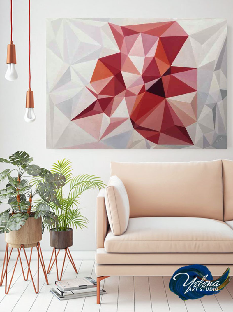 (CreativeWork) Living Coral - original abstract geometrical oil artwork, ready to hang by Yelena Revis. #<Filter:0x00005589e386e058>. Shop online at Bluethumb.