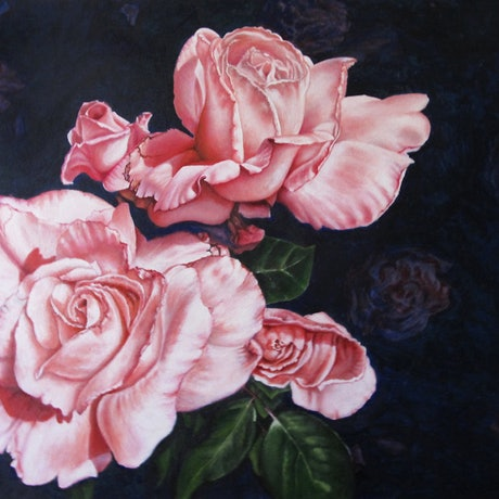 (CreativeWork) Blushing - Roses by Jillian Crider. Acrylic Paint. Shop online at Bluethumb.