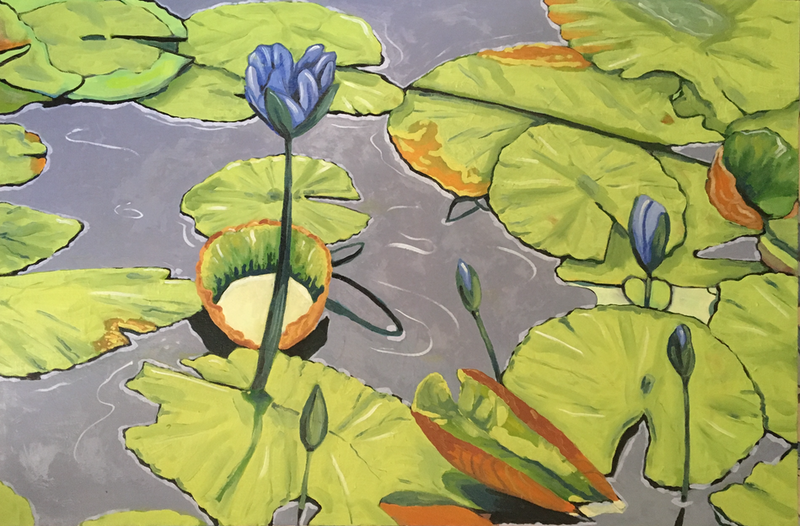 (CreativeWork) Lillies by sara bell. oil-painting. Shop online at Bluethumb.