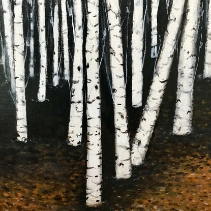 (CreativeWork) WINTER FOREST by LOUISE GROVE WIECHERS. Acrylic Paint. Shop online at Bluethumb.