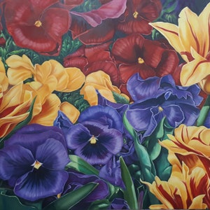 (CreativeWork) Parrot Tulips and Pansies (Floriade) by Karena Wynn-Moylan. oil-painting. Shop online at Bluethumb.