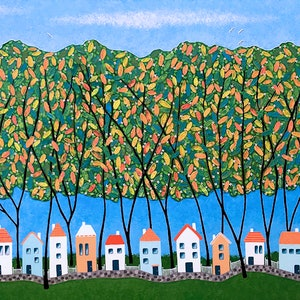(CreativeWork) Tiny Town Under The Autumn Trees - Very Large by Lisa Frances Judd. arcylic-painting. Shop online at Bluethumb.