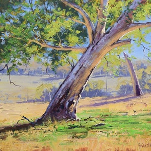 (CreativeWork) Whittlesea Gum Vic by Graham Gercken. oil-painting. Shop online at Bluethumb.
