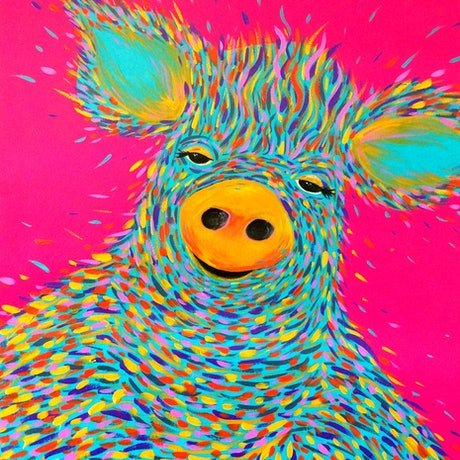 (CreativeWork) Percy  the  Pig by Jess Anderson. Acrylic Paint. Shop online at Bluethumb.