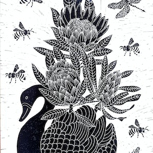 (CreativeWork) Swan planter with Proteas Ed. 2 of 150 by Marinka Parnham. #<Filter:0x0000562d1c7b5e18>. Shop online at Bluethumb.