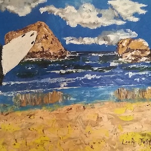 (CreativeWork) Surfer at Torquay by Leah Justyce  (BaVa). oil-painting. Shop online at Bluethumb.