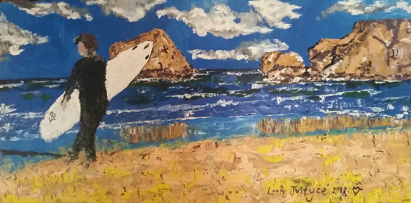 (CreativeWork) Surfer at Torquay by Leah Justyce  (BaVa). Oil Paint. Shop online at Bluethumb.