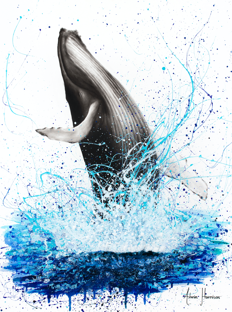 (CreativeWork) Glorious Ocean Whale by Ashvin Harrison. arcylic-painting. Shop online at Bluethumb.