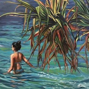 (CreativeWork) Burleigh Pandanus  by Amanda Cameron. oil-painting. Shop online at Bluethumb.