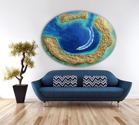 (CreativeWork) Blue Atoll by Brigitte Ackland. Acrylic Paint. Shop online at Bluethumb.