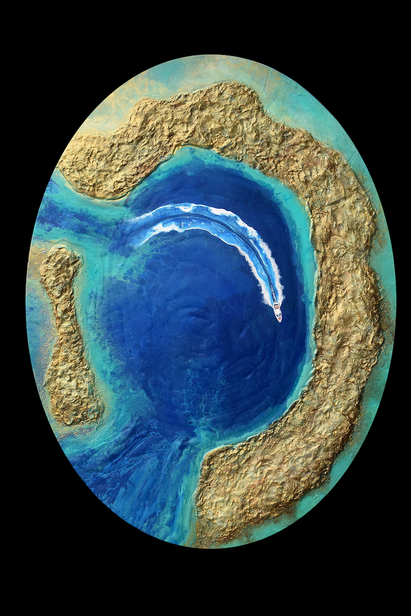 (CreativeWork) Blue Atoll by Brigitte Ackland. arcylic-painting. Shop online at Bluethumb.
