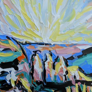 (CreativeWork) Sunshine at the 3 Sisters  by Lisa Fahey. arcylic-painting. Shop online at Bluethumb.