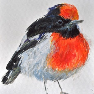 (CreativeWork) Red-Capped Robin by Rebecca Hill. mixed-media. Shop online at Bluethumb.