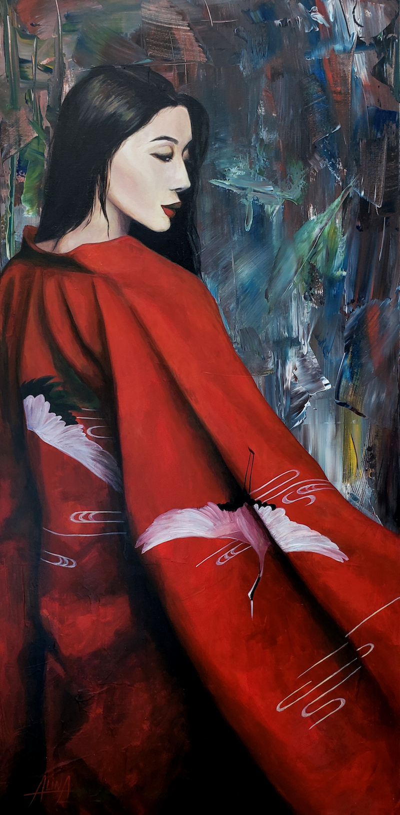 (CreativeWork) Abstract Red Sun by Alina Zorkina. Acrylic Paint. Shop online at Bluethumb.