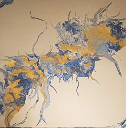 (CreativeWork) Navy and Gold wanderings by Tina Dawes. Acrylic Paint. Shop online at Bluethumb.