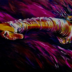 (CreativeWork) Purple Lying Woman by Ronzo Weideman. oil-painting. Shop online at Bluethumb.