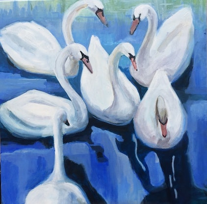 (CreativeWork) BLUE SWANS by Elizabeth Braun. Acrylic Paint. Shop online at Bluethumb.