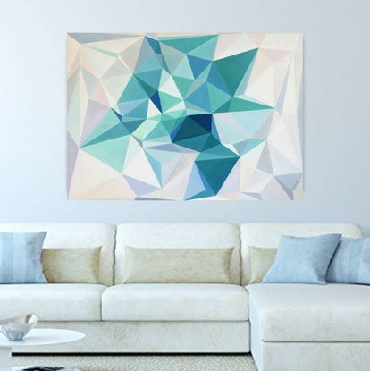 (CreativeWork) Moonlight jade - original abstract geometrical oil painting, ready to hang  by Yelena Revis. Oil. Shop online at Bluethumb.