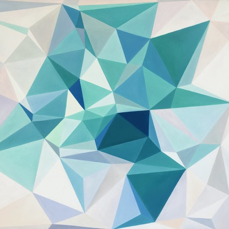 (CreativeWork) Moonlight jade - original abstract geometrical oil painting, ready to hang  by Yelena Revis. Oil Paint. Shop online at Bluethumb.