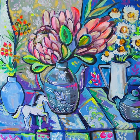 (CreativeWork) The White Horse and Proteas by Katerina Apale. Acrylic Paint. Shop online at Bluethumb.