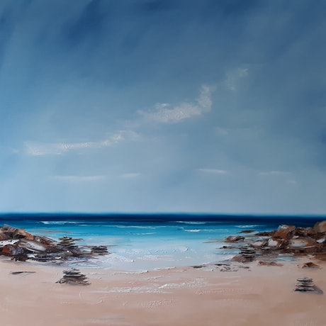 (CreativeWork) Into the Blue by Rose Knight. Oil Paint. Shop online at Bluethumb.
