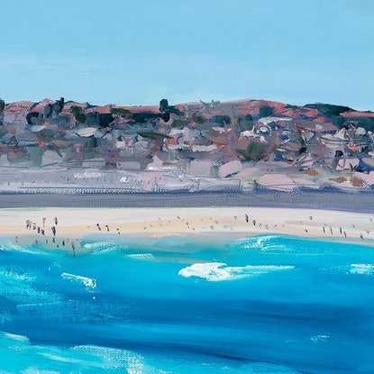 (CreativeWork) Bondi Icebergs - Summer by Meredith Howse. Oil Paint. Shop online at Bluethumb.
