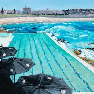 (CreativeWork) Bondi Icebergs - Summer by Meredith Howse. oil-painting. Shop online at Bluethumb.
