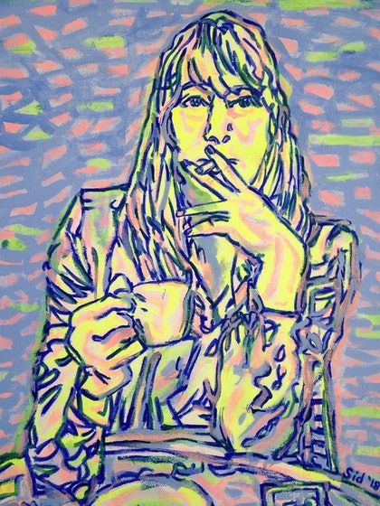 (CreativeWork) Coffee and a cigarette' study in violet and yellow by Sidney Sprague. arcylic-painting. Shop online at Bluethumb.