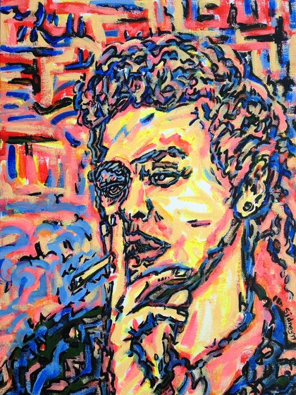 (CreativeWork) Girl Smoking' by Sidney Sprague. arcylic-painting. Shop online at Bluethumb.