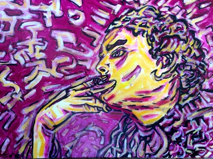 (CreativeWork) Girl and a cigarette' by Sidney Sprague. arcylic-painting. Shop online at Bluethumb.