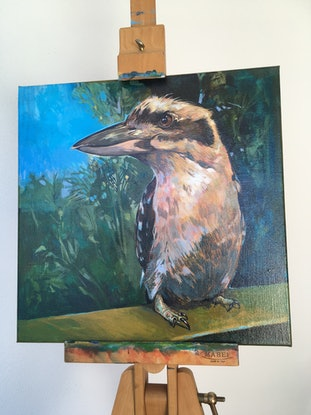 (CreativeWork) Hungry Kookaburra Seeking Breakfast. Clear Mountain, Queensland.  NEXT DAY COURIER by Scott Neil. Acrylic Paint. Shop online at Bluethumb.