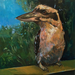 (CreativeWork) Hungry Kookaburra Seeking Breakfast. Clear Mountain, Queensland.  NEXT DAY COURIER by Scott Neil. arcylic-painting. Shop online at Bluethumb.