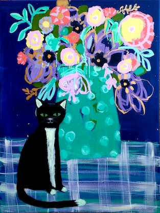 (CreativeWork) Black Cat & Blue by Sandra Oost. Acrylic Paint. Shop online at Bluethumb.